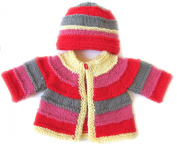 KSS Handmade Red Sunset Striped Cardigan and Hat 6 Months