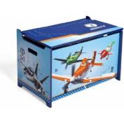 Disney By Delta Planes Wooden Deluxe Baby Toy Box Children's Storage Furniture, Blue