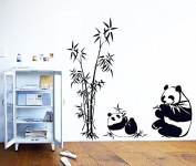 Lovely Pandas Bamboos Wall Decal Home Sticker Paper Removable Living Room Bedroom Art Picture DIY Mural Girls Boys Kids Nursery Baby Playroom Decoration + Gift Colourful Butterflies