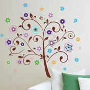 Colourful Lucky Tree Leaves Flowers Wall Decal Home Sticker Paper Removable Living Room Bedroom Art Picture DIY Mural Girls Boys Kids Nursery Baby Playroom Decoration + Gift Colourful Butterflies