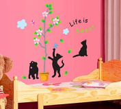 Lovely Cats Butterflies Leaves Tree Flowers Wall Decal Home Sticker Paper Removable Living Room Bedroom Art Picture DIY Mural Girls Boys Kids Nursery Baby Playroom Decoration + Gift Colourful Butterflies