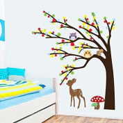 Colourful Leaves Tree Owls Deer Mushrooms Wall Decal Home Sticker Paper Removable Living Room Bedroom Art Picture DIY Mural Girls Boys Kids Nursery Baby Playroom Decoration + Gift Colourful Butterflies
