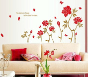 Red Peony Flowers Leaves Butterflies Wall Decal Home Sticker Paper Removable Living Room Bedroom Art Picture DIY Mural Girls Boys Kids Nursery Baby Playroom Decoration + Gift Colourful Butterflies