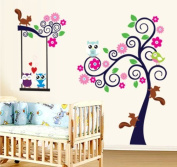 Colourful Flowers Trees Owls Squirrel Wall Decal Home Sticker Paper Removable Living Room Bedroom Art Picture DIY Mural Girls Boys Kids Nursery Baby Playroom Decoration + Gift Colourful Butterflies