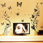 Black Leaves Flowers Butterlies Wall Decal Home Sticker Paper Removable Living Room Bedroom Art Picture DIY Mural Girls Boys Kids Nursery Baby Playroom Decoration + Gift Colourful Butterflies