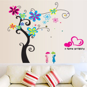 Colourful Flowers Tree Heart Shape Wall Decal Home Sticker Paper Removable Living Room Bedroom Art Picture DIY Mural Girls Boys Kids Nursery Baby Playroom Decoration + Gift Colourful Butterflies
