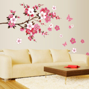 Beautiful Pink Peach Blossom Leaves Butterflies Wall Decal Home Sticker Paper Removable Living Room Bedroom Art Picture DIY Mural Girls Boys Kids Nursery Baby Playroom Decoration + Gift Colourful Butterflies