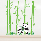 Lovely Pandas Eating Bamboo Wall Decal Home Sticker Paper Removable Living Room Bedroom Art Picture DIY Mural Girls Boys Kids Nursery Baby Playroom Decoration + Gift Colourful Butterflies
