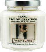 Premium 100% Soy Candle - 6 - oz. Hex Jar-Scent- Amazing Grace