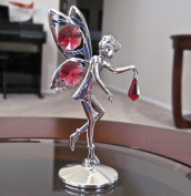 . Prism Fairy Figurine Ornament , Ruby Red Silver Plated