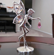 . Prism Fairy Figurine Ornament, Roseline Pink Silver Plated