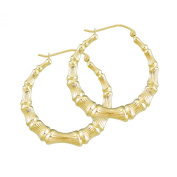 14K Yellow Gold Round Bamboo Hoop Hollow Earrings High Polished Fine Jewellery 3.5cm GB22