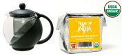Pride Of India - Organic Lemongrass Tea (Decaf) - Half Pound Full Leaf & Tempered 3-Cup Glass Tea Pot w/ Removable Infuser - 25 Fluid Ounces Combo Pack