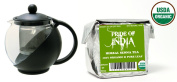 Pride Of India - Organic Senna Tea (Decaf) - Half Pound Full Leaf & Tempered 3-Cup Glass Tea Pot w/ Removable Infuser - 25 Fluid Ounces Combo Pack