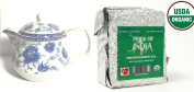 Pride Of India - Organic Indian Green Tea - 0.5kg Full Leaf & Ceramic 2-Cup Glass Tea Pot w/ Removable Infuser - 20 Fluid Ounces Combo Pack