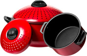 2 Pc Chef Quality Pasta Pot with Strainer Lid - 5.7l & 5.7l Red Stock Pot or Pasta Cooker