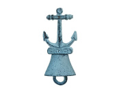 Handcrafted Nautical Decor Rustic Dark Blue Whitewashed Vintage Cast Iron Anchor Hand Bell 13cm - Antique Cast Iron Decor