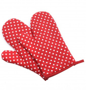 Ladixiya Red Dots Thick Cotton Cooking Oven Mitts Heat Resistant for Microwave