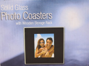 Solid Glass Photo Coasters with Wooden Storage Rack