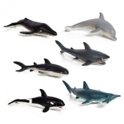Set of 6 Huge Whale And Shark Toy Figures