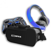 True Depth 3D® VR InfernoTM Ultimate Experience Premium Virtual Reality with Bluetooth Headphones and Bluetooth Game Pad Compatible with 4-15cm Android Smartphones