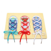 StarMall Wooden Learn to Tie My Shoe Board Shoelaces Shoes Lacing Toys