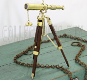 Shiny Brass Table Triopd Telescope Miniature Model - Marine Art Collection