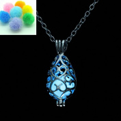 Teardrop Blue Glow in the Dark Necklace Jewellery Pendant Steampunk Fairy Magical