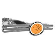 Basketball Round Tie Bar Clip Clasp Tack - Silver