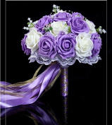 Hestian 25cm Purple and Ivory Roses with Pearls Chain , Beautiful Ribbon Bridal Wedding Bouquet Silk Rose Hand Tie
