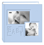 """Pioneer Photo Albums 200-Pocket Embossed """"Baby"""" Leatherette Frame Cover Album for 10cm by 15cm Prints, Blue"""