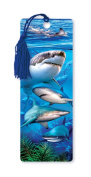 Dimension 9 3D Lenticular Bookmark with Tassel, Swimming with Sharks