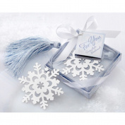 """Snowflake"" Bookmark with Silver Finish and Elegant Ice-Blue Tassel"