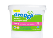 Dropps HE Baby Laundry Detergent Pacs, Scent, Dye + Enzyme Free, 75 Count
