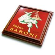 3dRose trv_149299_1 Vintage Pates Baroni Pasta Advertising Poster Trivet with Ceramic Tile, 20cm by 20cm , Brown