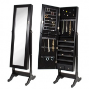 Best Choice Products® Black Mirrored Jewellery Cabinet Armoire W Stand Mirror Rings, Necklaces, Bracelets
