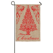 Merry Christmas and Happy Holidays Two Sided Burlap Garden Flag