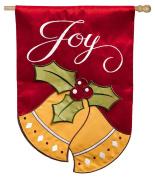 Evergreen Applique Joyful Christmas Bells House Flag, 70cm x 110cm