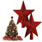 AGM 2pcs Glitter Five-Pointed Star Christmas Tree Topper Decoration Home Ornaments