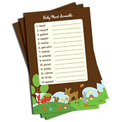 Word Scramble - Baby Shower Game - Woodlands Theme