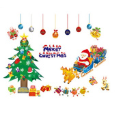 WTD Merry Christmas Santa Claus Christmas Tree Christmas Stockings Christmas Gifts Wall Decals Living Room Bedroom Shop Window Removable Wall Stickers Murals