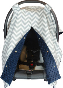 Premium Carseat Canopy Cover with Peekaboo Opening- Large Chevron Print with Navy Dot Minky | Best for Infant Car Seat, Boy or Girl | All Weather | Universal Fit | Baby Shower Gift | Newborn Decor