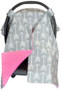 Premium Carseat Canopy Cover with Peekaboo Opening- Large Arrow Print with Hot Pink Dot Minky | Best for Infant Car Seat, Boy or Girl | All Weather | Universal Fit | Baby Shower Gift | Newborn Decor