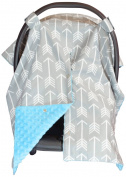 Premium Carseat Canopy Cover and Nursing Cover- Large Arrow Pattern w/ Blue Minky | Best Infant Car Seat Canopy, Boy or Girl | Cool/ Warm Weather Car Seat Cover | Baby Shower Gift 4 Breastfeeding Moms