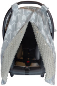 Premium Carseat Canopy Cover with Peekaboo Opening- Large Arrow Print with Grey Dot Minky | Best for Infant Car Seat, Boy or Girl | All Weather | Universal Fit | Baby Shower Gift | Newborn Decor