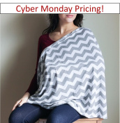 Bay's Infinity Nursing Scarf - Double-Sided Grey Chevron Pattern - Incredible Quality, Super Soft