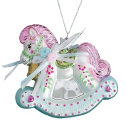 9.5cm NOBLE GEMS GLASS BABY'S FIRST CHRISTMAS ROCKING HORSE Christmas Tree Ornament