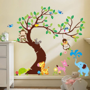 Wall Decals for Girls and Boys Room - ROOM FOR IMAGINING® - Peel and Stick, Removable, Eco-friendly Wall Stickers - Create the Perfect Jungle Scene for Your Nursery - Comes with free Children's ebook!