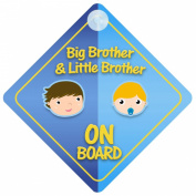 Big Brother And Little Brother On Board Car Sign New Baby / Child Gift / Present / Baby Shower Surprise