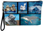Aquatic Patchwork Large Vegan Wristlet, Pencil Bag, Cosmetic Bag - From My Original Paintings - Support Wildlife Conservation, Read How